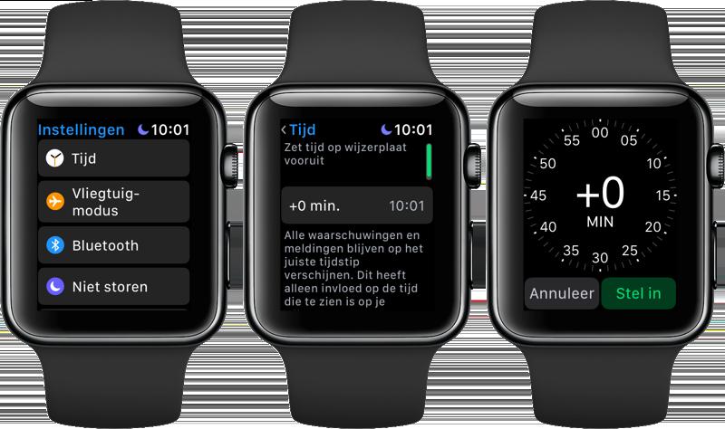 Apple Watch klok vooruit zetten
