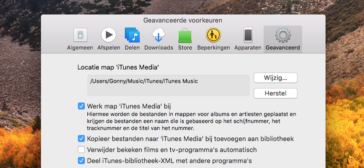 Locatie van de map iTunes Media