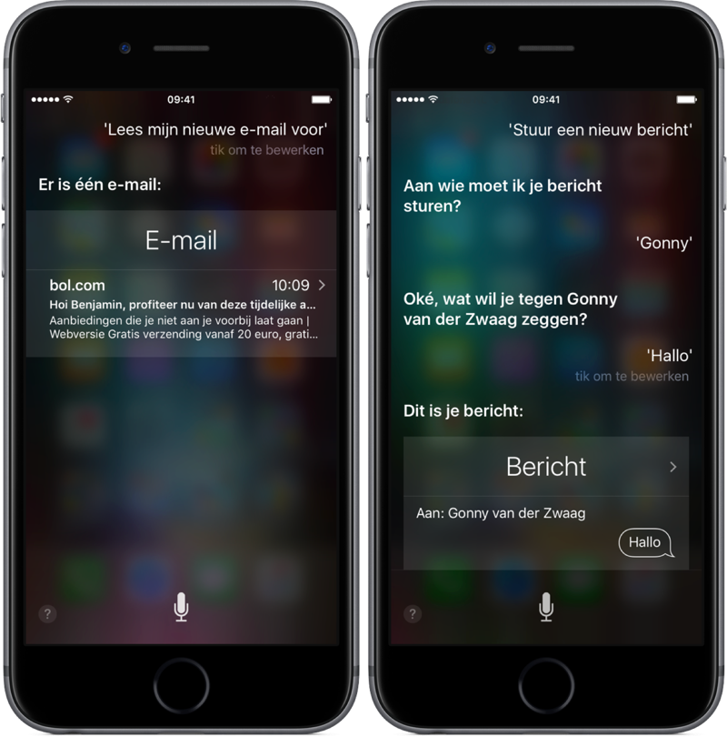 Siri email en bericht laten voorlezen of versturen.