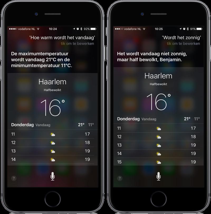 Weer voor vandaag opvragen via Siri.