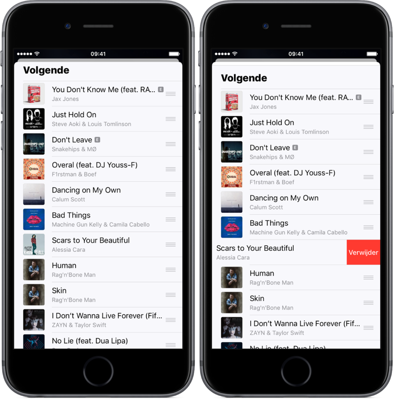 Volgende in de Muziek-app.