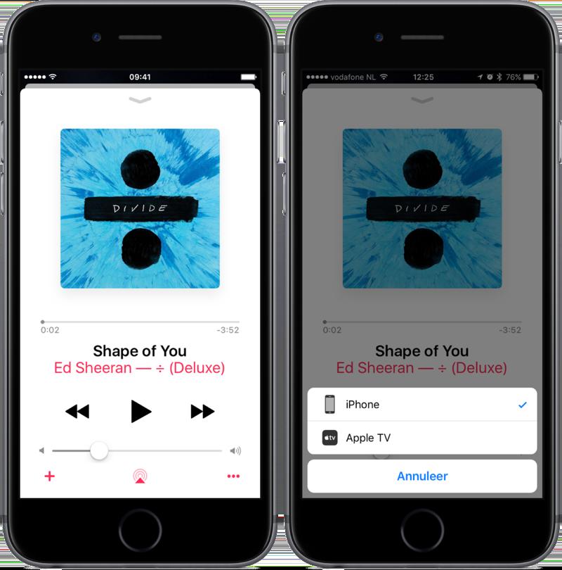 Huidig nummer in de Muziek-app.