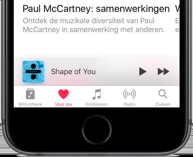 Minispeler in de Muziek-app.