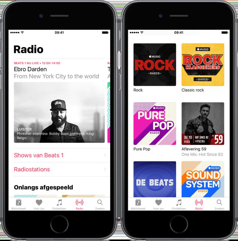 Radio in de Muziek-app.