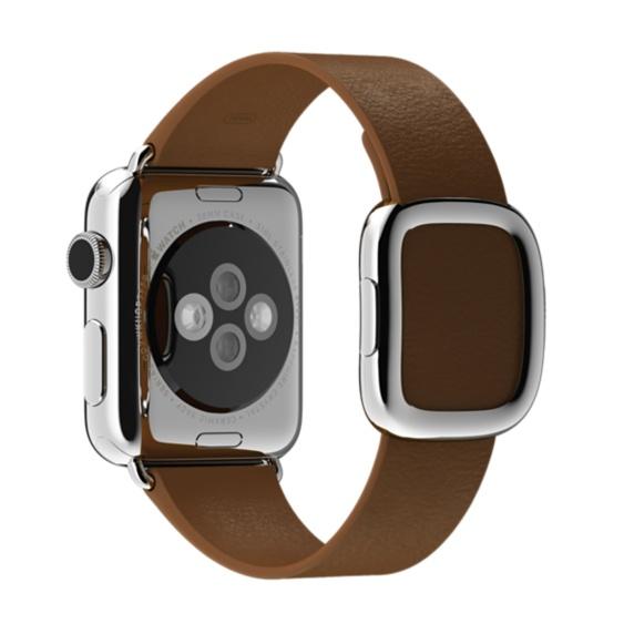 Apple Watch met lederen bandje met moderne gesp.