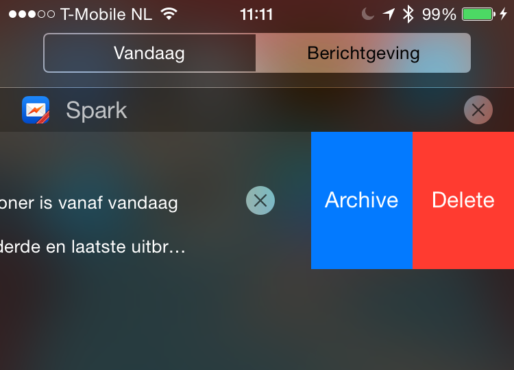 Spark interactieve notificatie