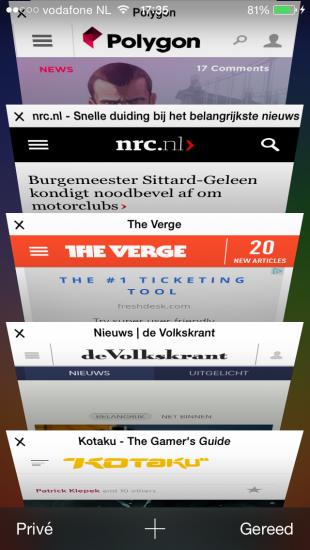 Safari veel websites