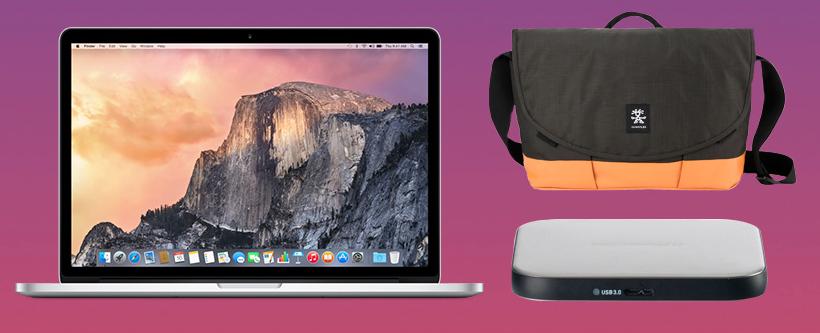 MacBook met tas en HDD