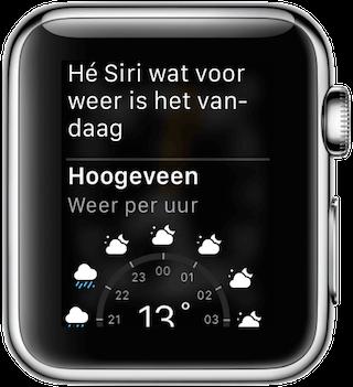 Weerbericht via Nederlandse Siri op de Apple Watch