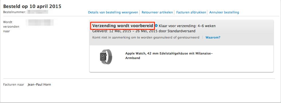 Apple Watch bestelling Duitse Apple Store - 42mm Steel met milanese loop