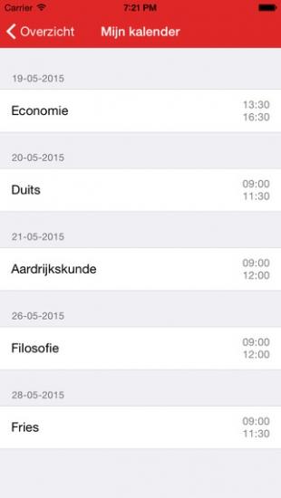Eindexamen Kalender app