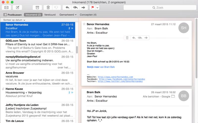 Mail-conversaties zonder belasting