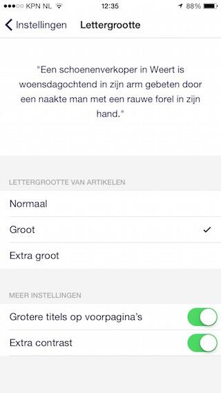 NU.nl lettergrootte