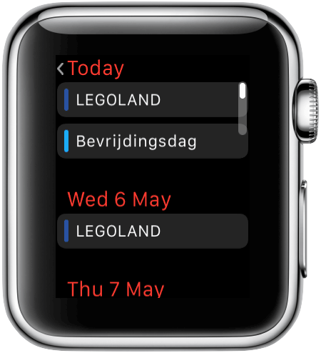 Apple Watch: Agenda-app