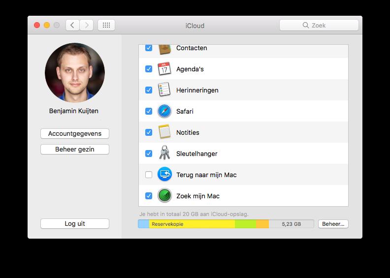 iCloud-instellingen op de Mac.