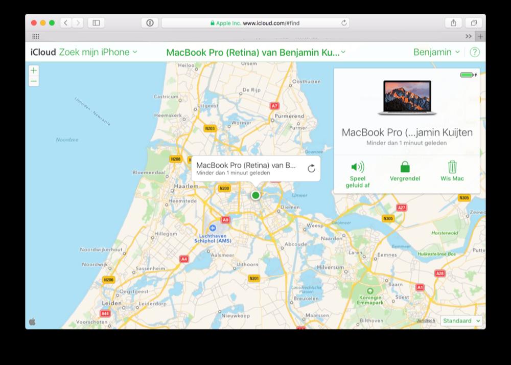 Zoek mijn Mac via iCloud op Safari.