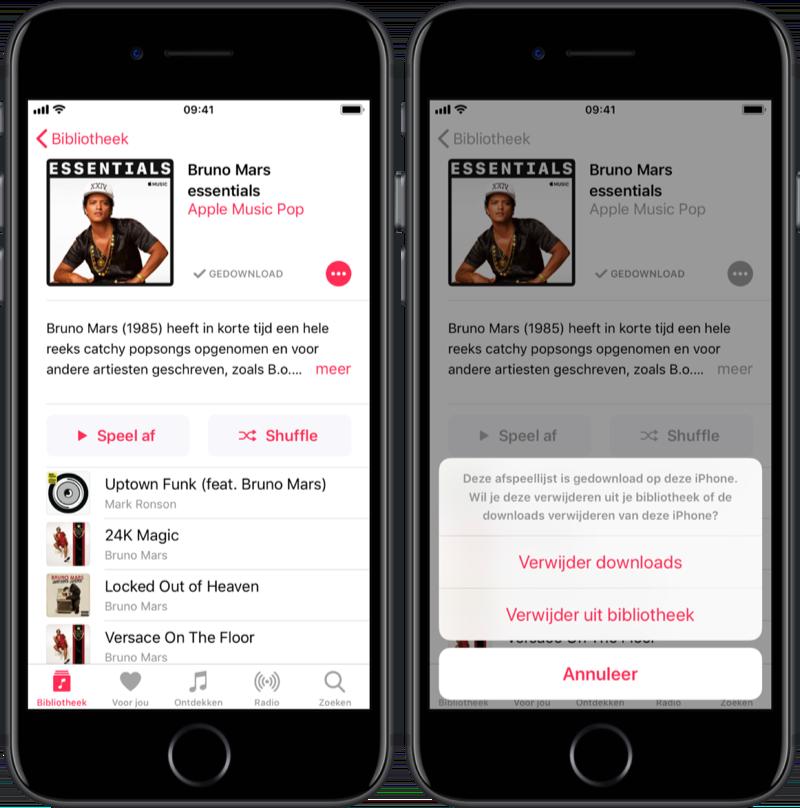 Downloads van Apple Music verwijderen.
