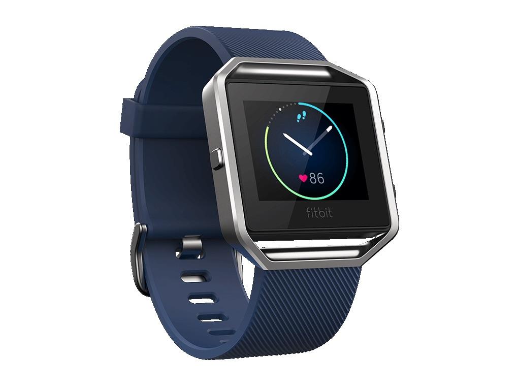 Fitbit Blaze in blauw.