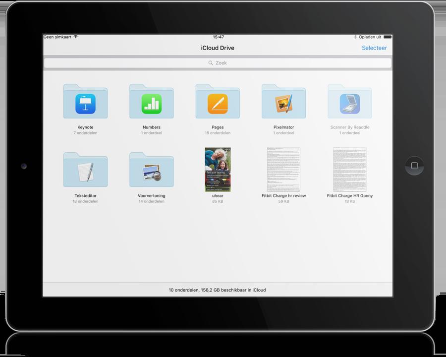 Mappen in de iCloud Drive app.