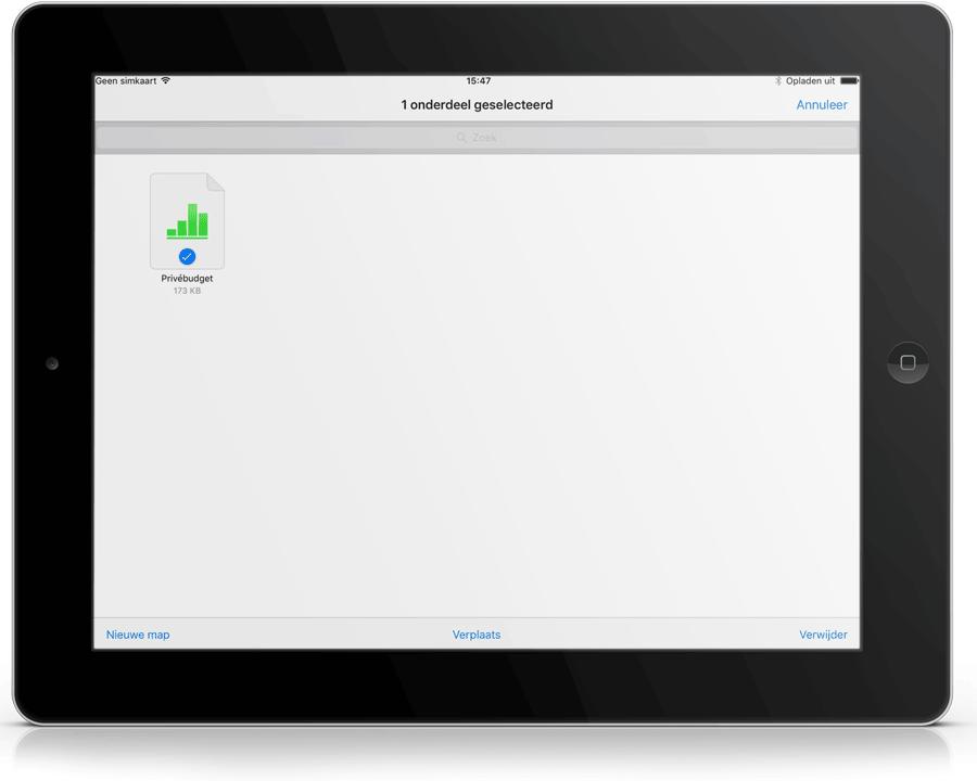 iCloud Drive-app op de iPad.