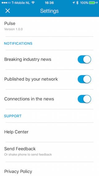 LinkedIn Pulse instellingen