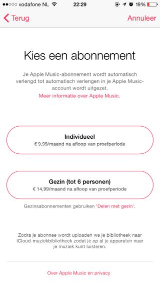 Apple Music Nederlandse prijzen 2