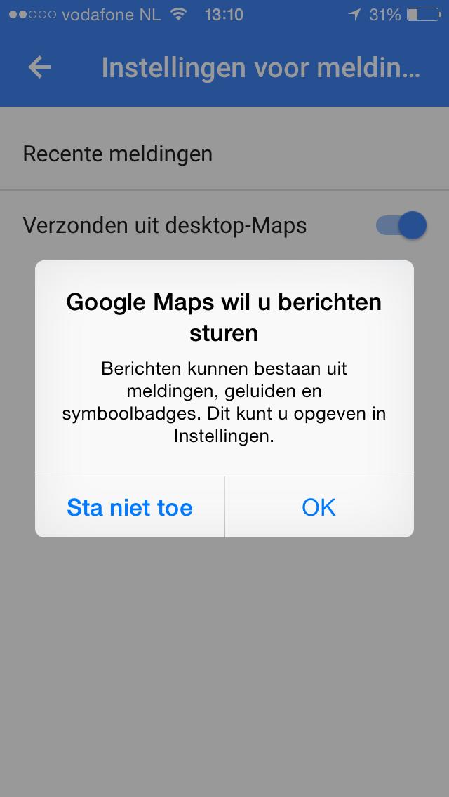 Google maps doorsturen inschakelen