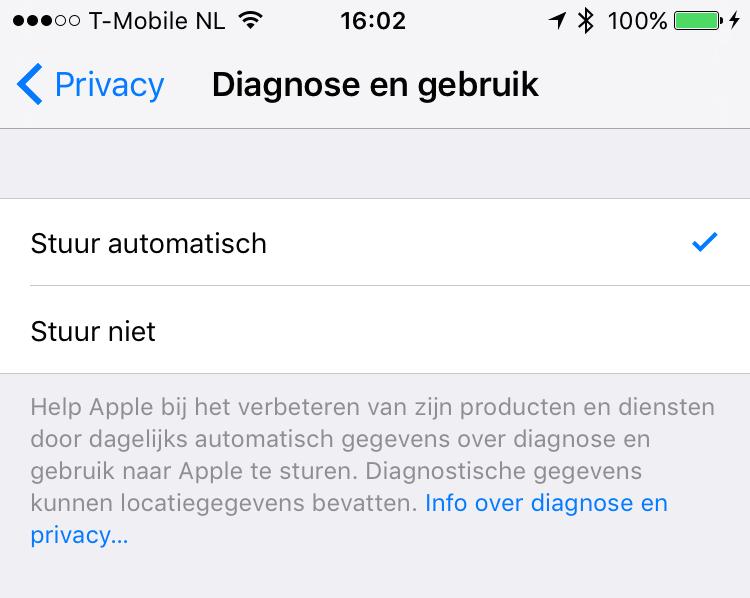 iOS 9 diagnostische informatie