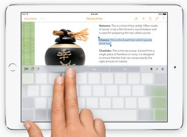 iOS 9 tekstselectie