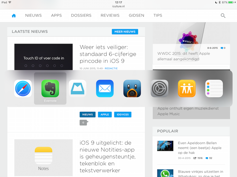 iOS 9 Toetsenbord combinaties Bluetooth iPad