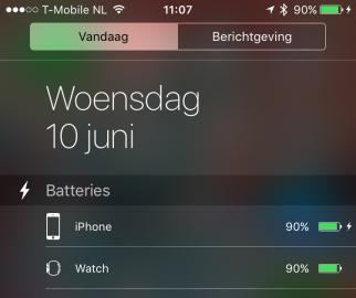 iOS 9 batterij widget