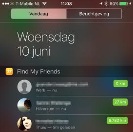 iOS 9 Zoek mijn Vrienden widget