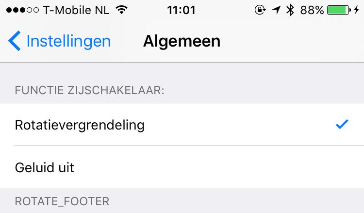Rotatieschakelaar iOS 9