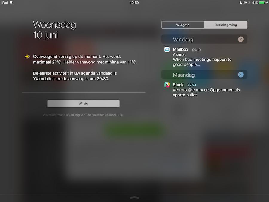 iOS 9 Berichtencentrum iPad