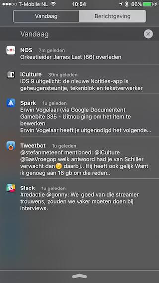 iOS 9 Berichtencentrum notificaties oud