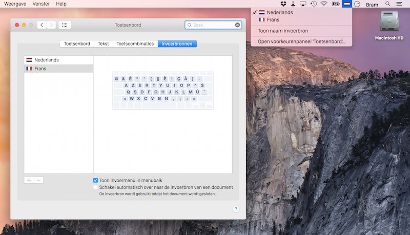 toetsenbord indeling instellen