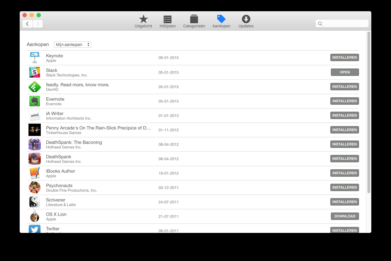 mac app store aankopen