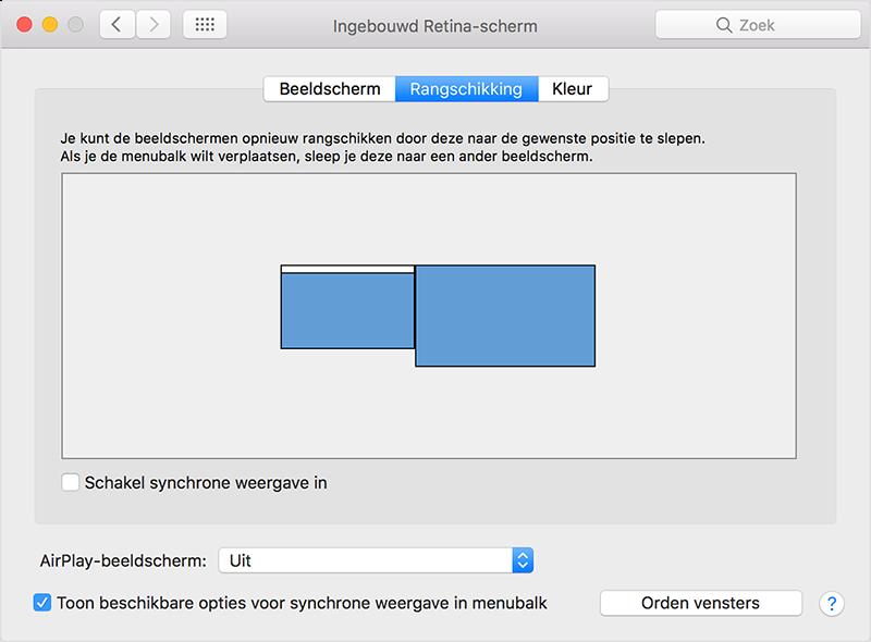 Mac beeldschermen instellen