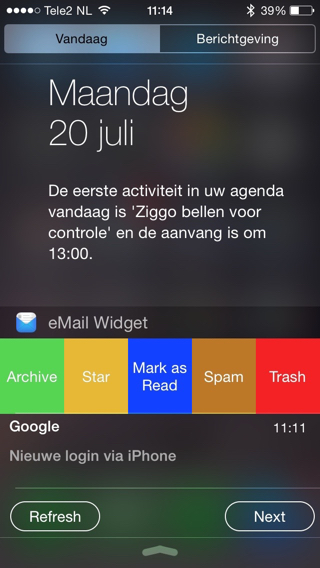 eMail-Widget-opties
