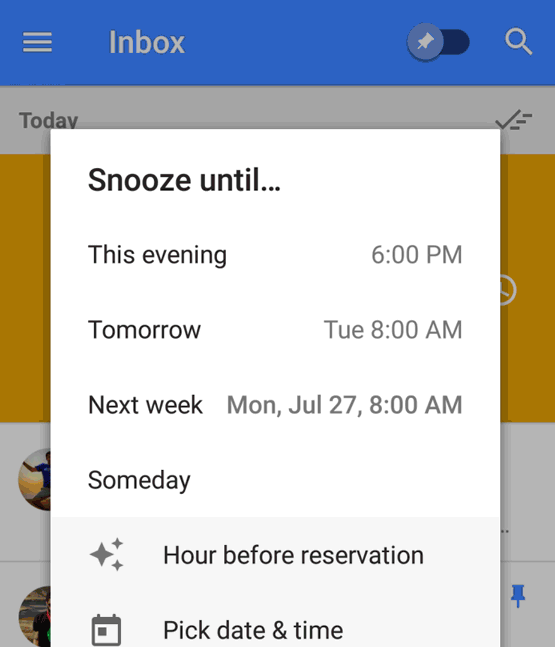 Google Inbox snooze