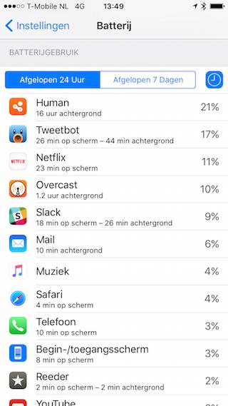 iOS 9 batterij tijd