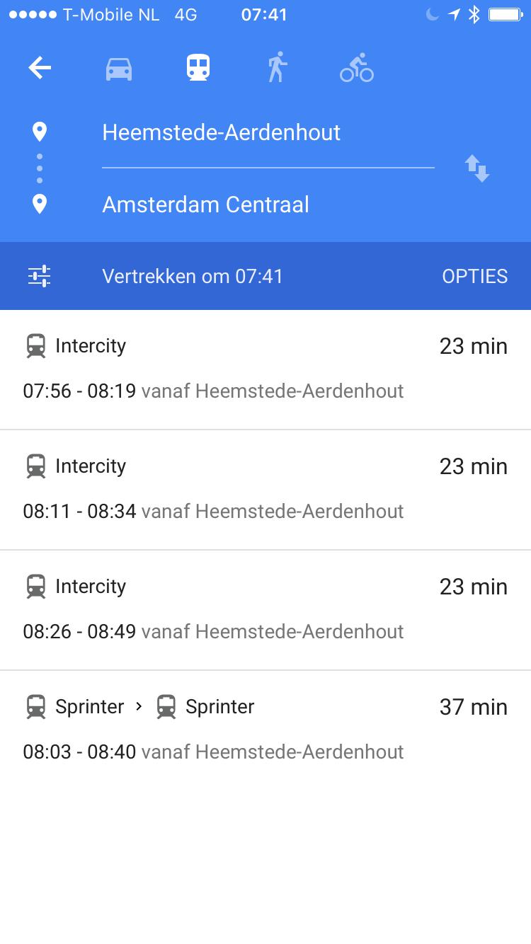 Google Maps ov-routes