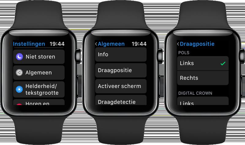 Apple Watch draagpositie instellen