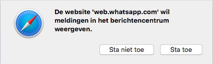 Melding voor WhatsApp Web in Safari.