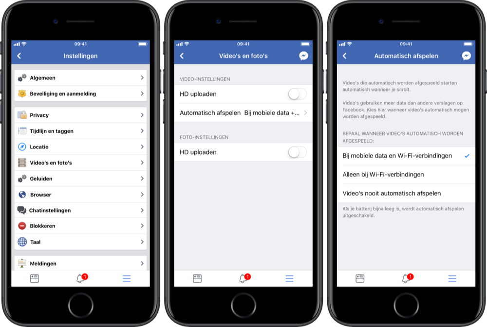Video's automatisch afspelen in Facebook.