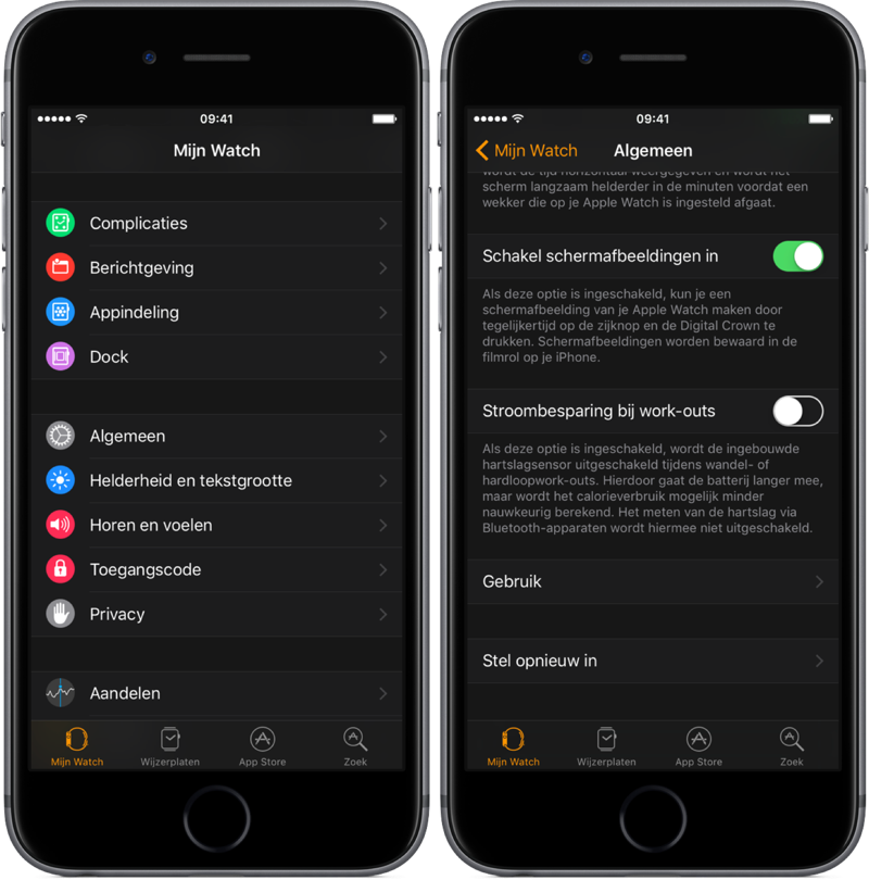 Stroombesparing tijdens work-outs in Apple Watch.