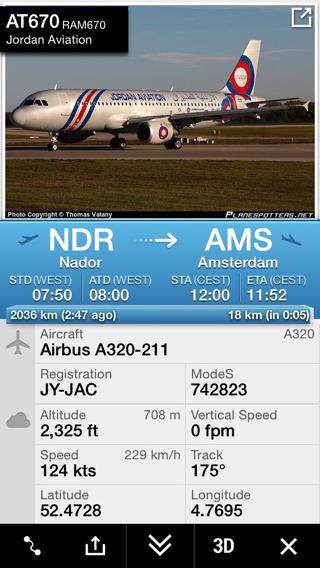 Flightradar-Vluchtinfo