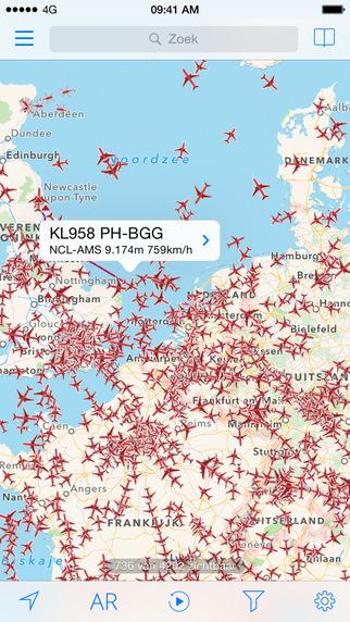 Plane-Finder-kaart