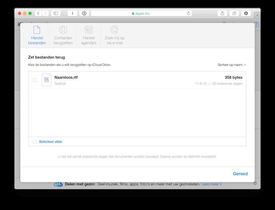 iCloud bestanden terugzetten