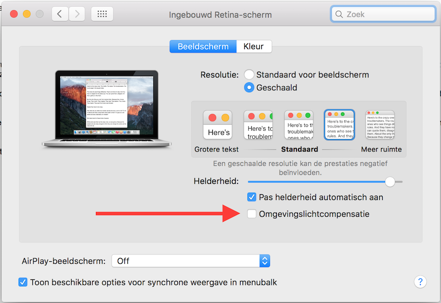 Omgevingslichtcompensatie OS X El Capitan